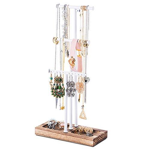 Love-KANKEI® Soporte de exhibición y almacenamiento de joyas con bandeja de madera y 3 barras de alambre (altura ajustable) para organizar collares Pulseras y pendientes