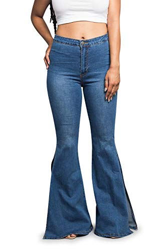 American Bazi Women's High Waisted Flare Bell Bottom Jeans RJH3333 - Blue - Small - H2E
