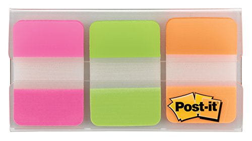 Post-It 686-PGOT Index Strong Filing Tabs, Pink, Green, Orange (12 of each colour)