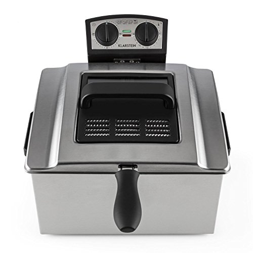 Klarstein Quickpro XXL Professional Deep Fat Fryer with 5L Tank for up to 1.5kg–Cold Zone, 3000W–Stainless Steel Silver