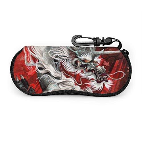 AOOEDM Hot Red Fury Chinese Dragon Estuche portátil para anteojos Resistente a la abrasión Estuche protector Estuche protector para gafas de sol suave con mosquetón para la escuela, la oficina, viaje