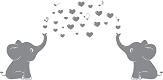 Elephant Family Wall Decal With Hearts Music Quote Art Baby Nursery Wall Decor (Grey) - 24