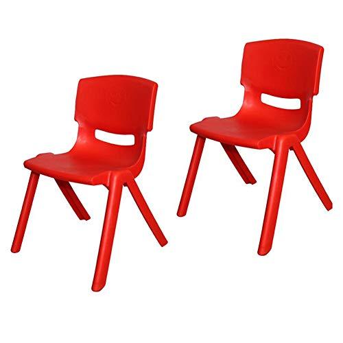Mesas CJC Sillas Dos Trozo Salón De Clases, Fuerte Plástico, Infantil Niños Té Partido Jardín Guardería Colegio Clubs (Color : Red, Tamaño : 55cm)