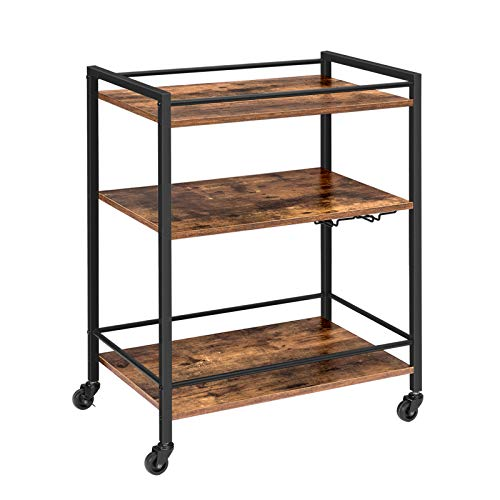 HOOBRO Bar Cart, Rolling Serving Cart with Wine Glasses Hooks, 3-Tier Utility Cart with Lockable Castors, Adjustable Feet, Kitchen Stand with Storage Shelves, Easy Assembly Rustic Brown BF02TC01