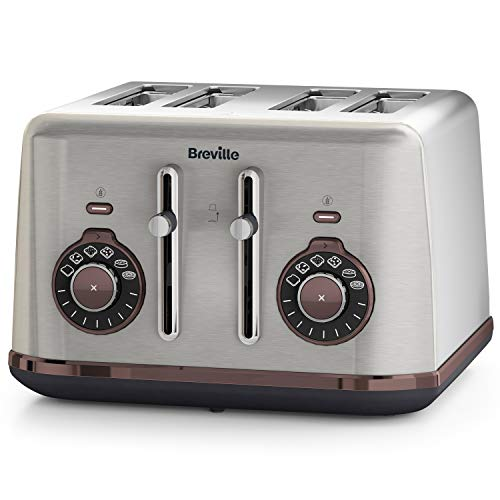Breville Bread Select 4-Slice Toaster | Temperature Control & High Lift | Wide Slots & Independent 2-Slice Controls | Brushed Nickel (Silver/Grey), [VTT953]