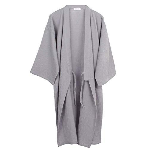 LIZANAN Japanische Mens Robe Baumwolle Kimono Pyjamas Nightgown [Gray, Größe XL]...