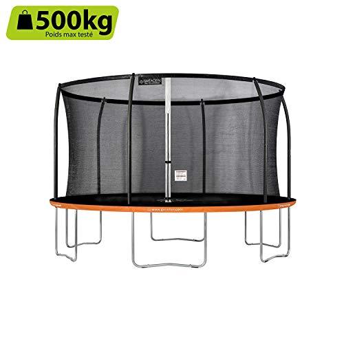 Greaden - Tappeto elastico da giardino Freestyle arancione 430, per fitness, esterno Ø 427 cm, rete di sicurezza/cuscino di protezione / tappeto di salto