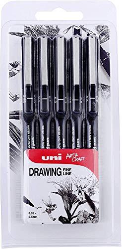 El bolígrafo perfecto para dibujo técnico, bocetos, diseño gráfico, colorear o entintar cómics en paquete de 5 unidades de tinta negra con puntas de 0,1mm, 0,2mm, 0,3mm, 0,5mm y 0,8mm de grosor. El bolígrafo contiene Uni-Ball Super Ink, una tint...