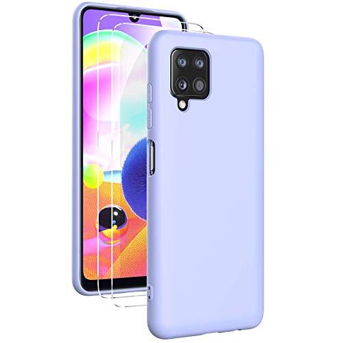 Oududianzi - Funda para Samsung Galaxy A12 con 2 Pack Protector de Pantalla de Vidrio Templado, Funda de Silicona Líquida Suave Case de Goma Ultrafina a Prueba de Choques de Color Puro- Púrpura