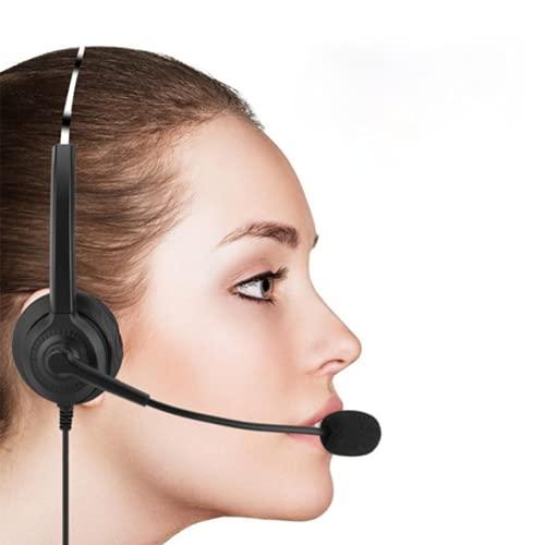 ZGHBZZY Telefon headset Binaural med brusreducerande mikrofon trådbundna telefonhörlurar för kundtjänst samtalscenter kontor, tydlig chat, ultrakomfort