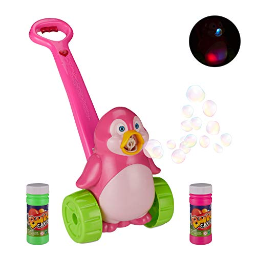 Relaxdays Máquina Burbujas de Jabón, Juguete Niños Pingüino, A Partir 3 Años, Música y Luz, Pilas, 1 Ud, PP, Rosa-Verde, Color (10027951)