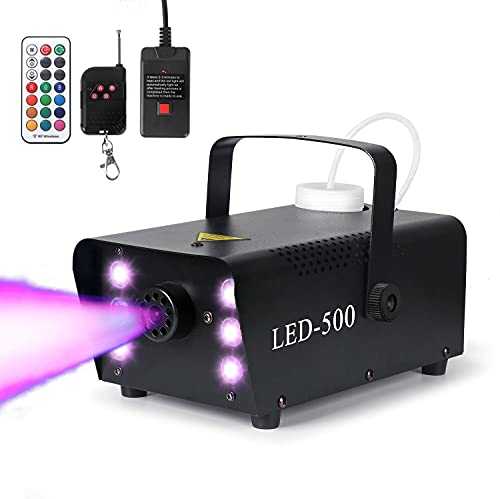 Fog Machine, 13 Color Options-Strobe Effect Smoke Machine with 1 Wired Control and 2 Wireless Remote Controls, 500W 6…