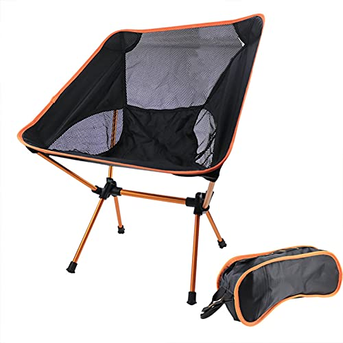 PTHZ Folding Chair, Camping Chair Backpack Chair Portable Compact Ultra-Light Outdoor Travel Chair, with Carrying Strap, for Outdoor, Beach, Camping,Orange