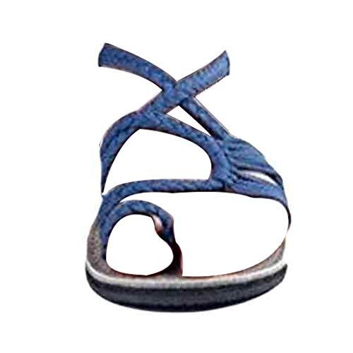 MUCHAO Damen Riemchen Sandalen Zehenring Beiläufig Böhmen Flache Flip Flops Strand Schuhe