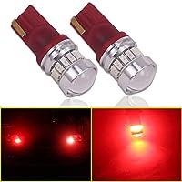 Eseastar T10 LED バルブ W5W 175 194 168 12961 車用 ポジション ナンバー灯 ルームランプ 明るい 新型3014SMD ハイパワーチップ CANBUSキャンセラー内蔵 360度ポジション インジケータライト ルームランプ ナンバー灯、2個セット、赤色