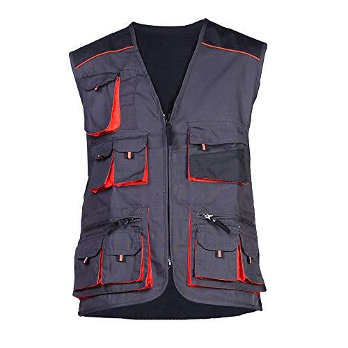 Stens Arbeitsweste mit zehn großen Taschen, Montageweste, Herren, 280g. Perfekt geeignet für Techniker und Bauarbeiter,Grau und Orange.