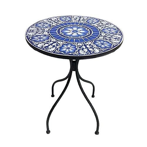 DGHJK Mesa Redonda de Mosaico Retro - Mesa Decorativa con Azulejos de cerámica para Exteriores, Muebles de Patio, jardín y balcón - Azul y Blanco 22.8x29.5 Pulgadas