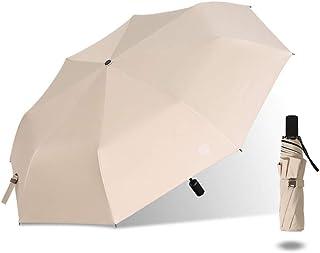 ZhuFengSD Umbrella Mini Three Fold Umbrella, Repellent Umbrellas Sun Protection with Black Glue Anti UV Coating Travel Umbrella, Blocking UV Portable,Rainproof,UV,Sun,Summer,Outdoor (Color : Beige)