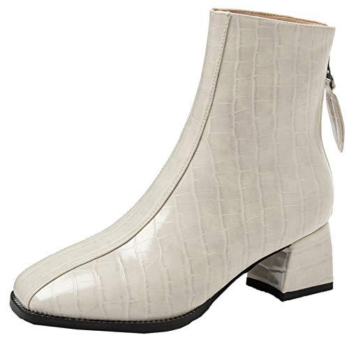 Botines para mujer con diseño de cocodrilo, zapatos de charol con cremallera, elegantes tacones bajos, botas impermeables de moda para otoño e invierno