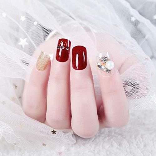 TJJF 24Pcs / Boxed Testa quadrata corta Coperchio completo Stampa sulle unghie Abiti da sposa Studio fotografico Abito da sposa Manicure rosso Unghie finte
