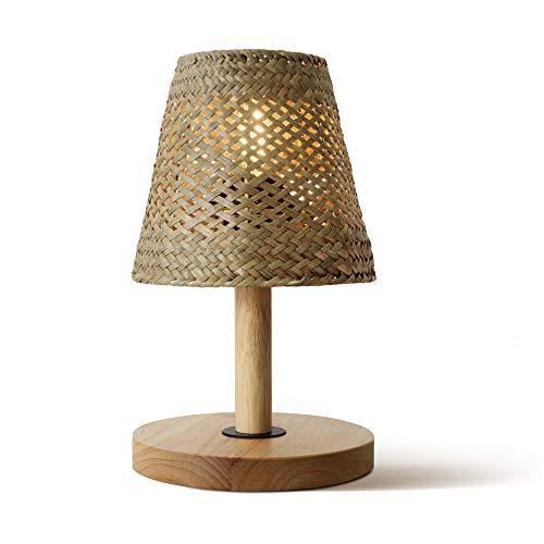 Ouglres Tischlampe aus Holz ,Tischleuchte Vintage aus Naturrasen, E27, Maße 14x14x25 cm, Khaki,1Pack