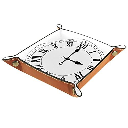 Reloj práctico de microfibra de cuero de almacenamiento, bandeja de escritorio de oficina, organizador de almacenamiento para cartera, llavero, reloj de teléfono joyería