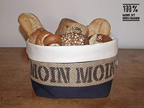 Brotkorb/Brötchenkorb Moin Moin aus Kaffeesack für 5-6 Brötchen