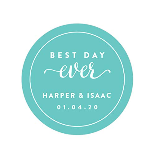 Andaz Press Personalized Circle Labels, Wedding, Best Day Ever, 40-Pack - Custom Made Any Name