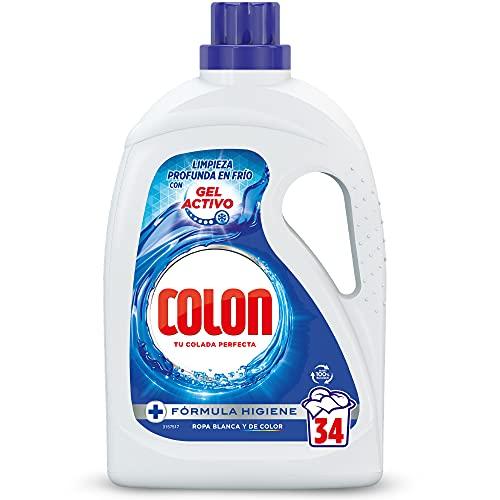 Colon Gel Activo - Detergente para lavadora líquido, fórmula higiene, adecuado para ropa blanca y de color, formato gel - 34 dosis