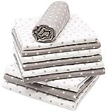 Zollner 10 muselinas para bebé 100% algodón, 80x80 cm, variadas con estrellas