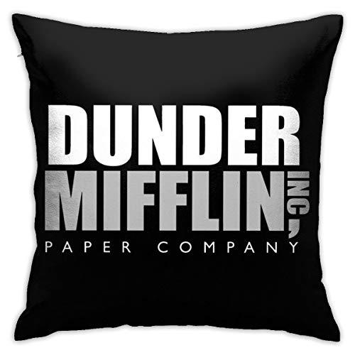 HONGYANW The Office Dunder Mifflin - Funda de almohada con logotipo de doble cara, impresión oculta con cremallera, funda de almohada de 45,7 x 45,7 cm