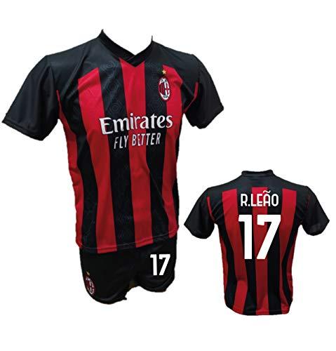 DND Di D'Andolfo Ciro Completo Calcio Maglia R. Leao Milan e Pantaloncino con Numero 17 Stampato Replica Autorizzata 2020-2021 Taglie da Bambino e Adulto (10 Anni)