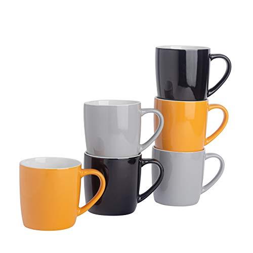 Argon Tableware Tasses à thé/café en céramique - coloré/Moderne - 340 ML - Jaune/Noir/Gris - Lot de 6