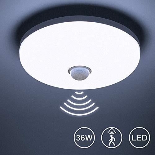 Yafido Plafoniera a LED Con Sensore di Movimento 36W 3240Lm Luce Bianca Naturale 4000K Lampada con Sensore a Microonde da Soffitto per Scala Corridoio Balcone Seminterrato Ø23cm