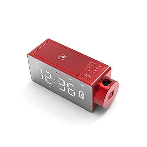 JIEOR Despertador digital con espejo proyector LED, altavoz inalámbrico Bluetooth, alarma doble, radio FM, puerto de carga USB, regalo