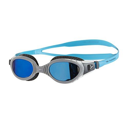 Speedo Futura Biofuse Flexiseal Mirror Gafas de Natación, Unisex Adulto, carbón USA/Gris/Azul Espejo, Talla Única