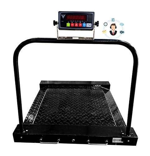 PEC Wheelchair Scale Portable Light Weight Medical Scale with Dual Low Profile Ramp, Heavy Duty 1000lbx0.2lb Drum Scale with Side Wheels