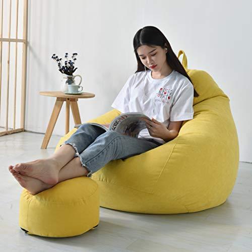 MYJZY Sofá Bean Bag con Reposapiés, Suave Y Cómodo Lazy Bean Bag Chair para Adultos Niños, Cojín del Sofá del Piso, Descanso Y Descanso Sillón para Dormitorio,Amarillo,S