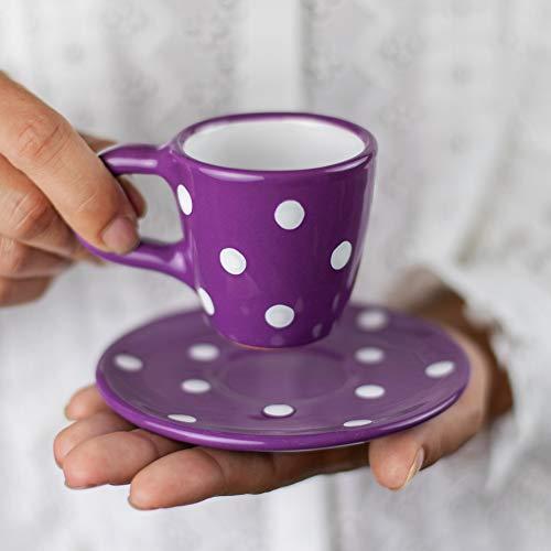 Stadt zu Cottage lila und weiß | gepunktet | Designer handgefertigt handbemalt | Einzigartiges Keramik 60/60| Espresso Tasse mit Untertasse | Geschenk