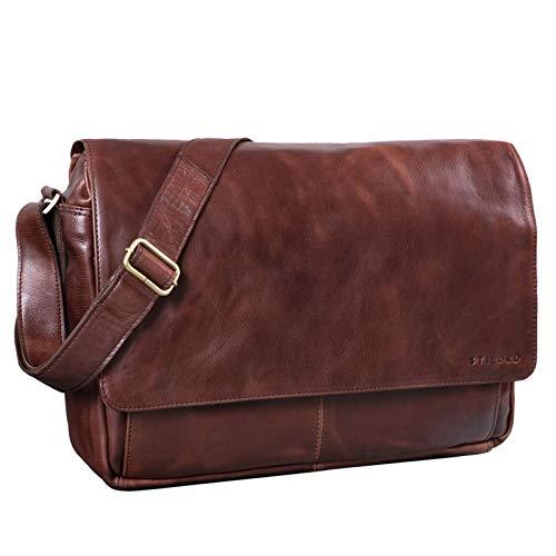 STILORD 'Lonzo' Vintage Umhängetasche echtes Büffel-Leder Messenger Bag für Herren und Damen Unitasche Büro Business Studium Leder, Farbe:schokoladen - braun