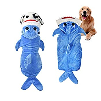 FLAdorepet Halloween Dog Shark Costume Outfits for Large Dog Winter Fleece Puppy Jacket Coat Hoodie Funny Dog Clothes Golden Retriever XXXXX-Large Blue