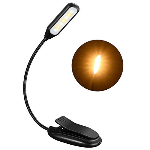 Rechargeable Book Light up to 60 Hours Reading, TOPELEK 7 LED Reading Light with 3 Brightness x 3 Color Temperature, Easy Clip On Reading Lamp for Night Reading in Bed for Bookworms, Kids