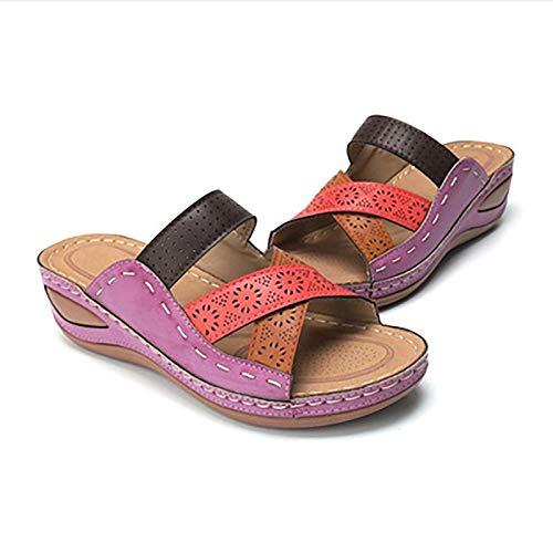 WYCcaseA Sandalias de cuña para mujer con puntera abierta, estilo gladiador, sandalias de verano de piel sintética ortopédicas, de color block de piel, sandalias de playa ligeras, 37