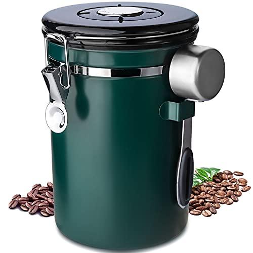 Frasheng Kaffeedose,Kaffeedose Luftdicht,Kaffeebohnen Behälter aus Edelstahl,Vakuum Kaffee Dose,mit Edelstahl Löffel,mit Datumsverfolgung für Kaffeebohnen Kaffeepulver Kaffeebehälter,1.8L,Grün