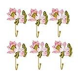 Perchero de pared 6 UNIDS Abrigos ganchos resina ganchos de pared flores ganchos para abrigos colgantes Ganchos elegantes...