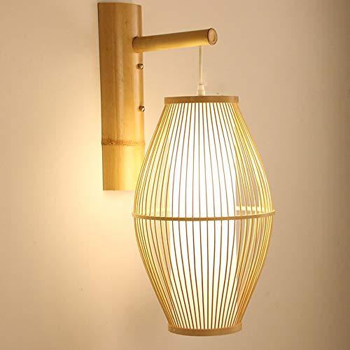 Wjvnbah Apliques de Pared lámpara de Pared, bambú/DIY de Mimbre Aplique el Arte Trenzado, Comedor Sala de Estar lámpara de Pasillo habitación con balcón Aplique de la Pared de la Escalera