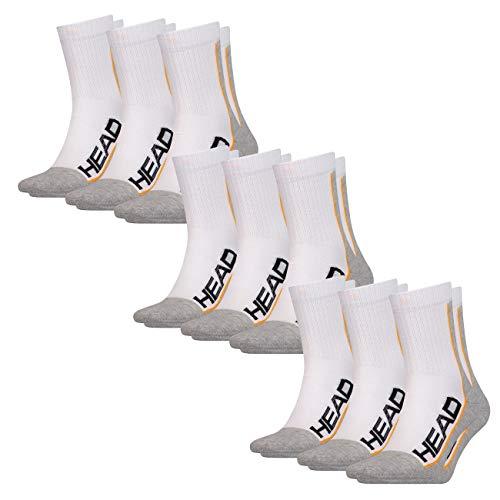 HEAD Unisex Performance Short Crew (3er-Pack) Socken, White/Grey (062), 43-46