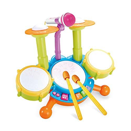 ZXIAQI Kinder Trommel Spielzeug Musikinstrumente für Kleinkinder Mit Kinderreimen Elektronisches Schlagzeug Geschenkidee für Kinder Jungen Mädchen ab 3 Jahren,Grün