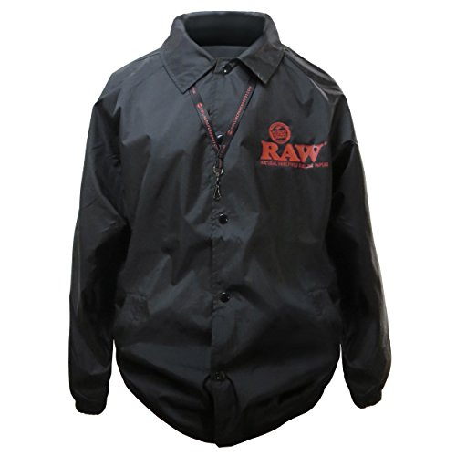 RAW Rolling Papers Tokyo Coaches Jacket with Rolling Paper Depot Lanyard Black