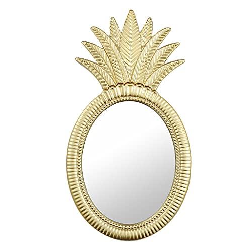 LWF Espejo De Pared Piña Creativa Espejo De Baño Marco Metal 38 × 70 Cm Alta Definición Espejos De Maquillaje para Decoración Pared Sala De Estar Pasillo Dormitorio